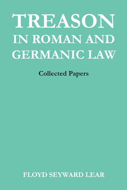 Cover of Treason in Roman and Germanic Law